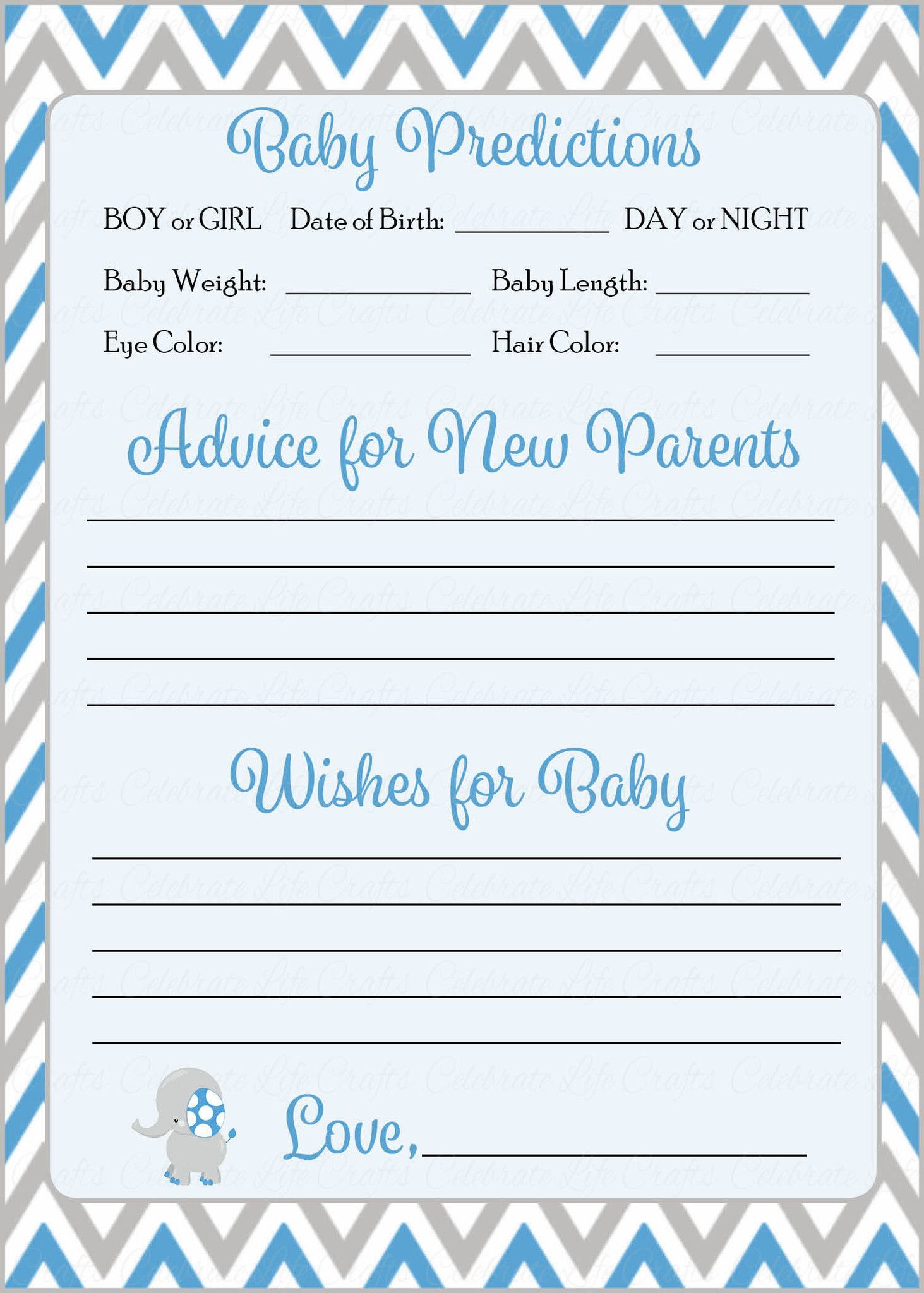 Prediction Advice Cards Printable Download Blue Gray Baby Shower Activity B3004 Baby Shower Advice Baby Shower Advice Cards Baby Shower Printables