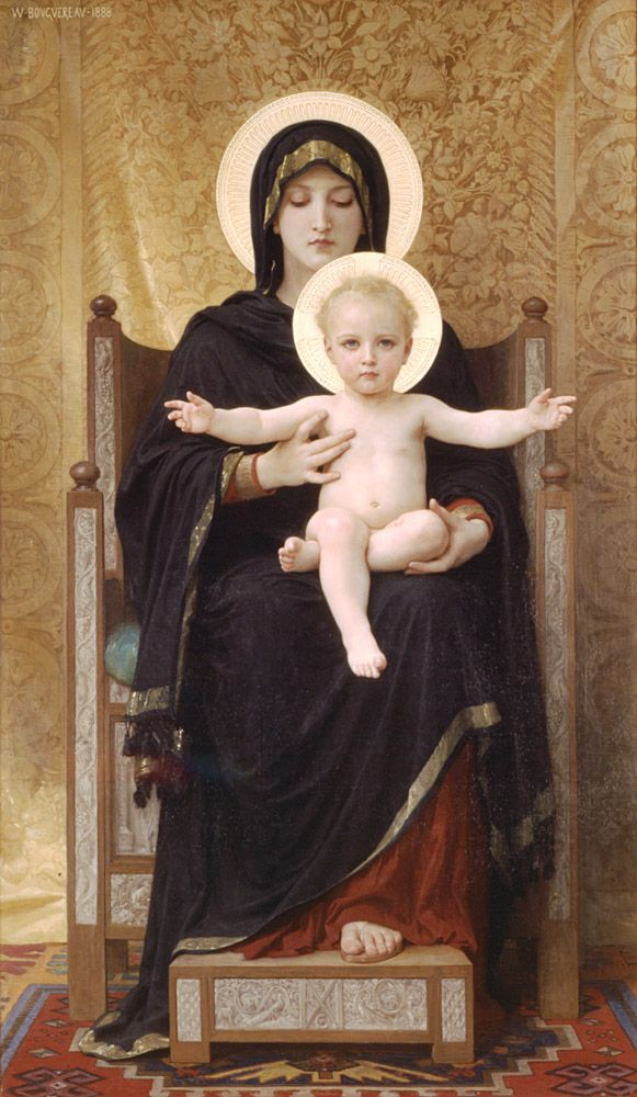 William Adolphe Bouguereau .Madone Assise .Oil on canvas 1888 176.5 x 103 cm..Art Gallery of South Australia (Adelaide, Australia)