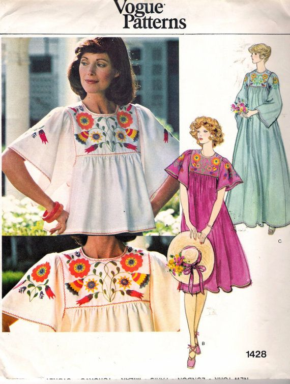 Vintage 70's -80's Vogue Pattern 1428 Loose Fitting Dress or Top With Embroidery Transfers Size Medium 12-14