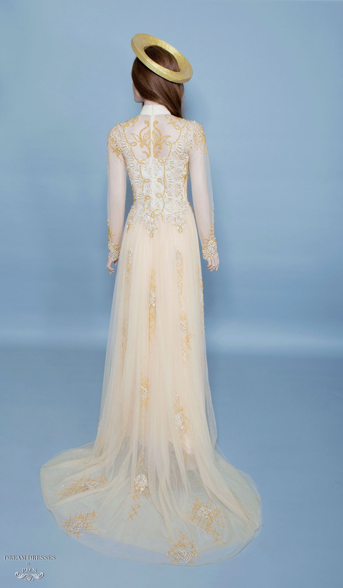 Gold Ao Dai | Vietnamese Bridal Dress with Embellishment (#HELGA ...