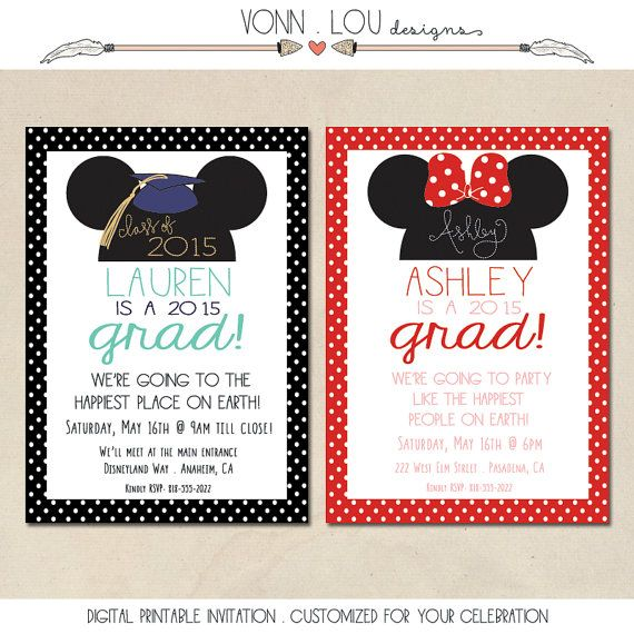 graduation invitation - happiest party invitation - mouse ear hat, Birthday invitations