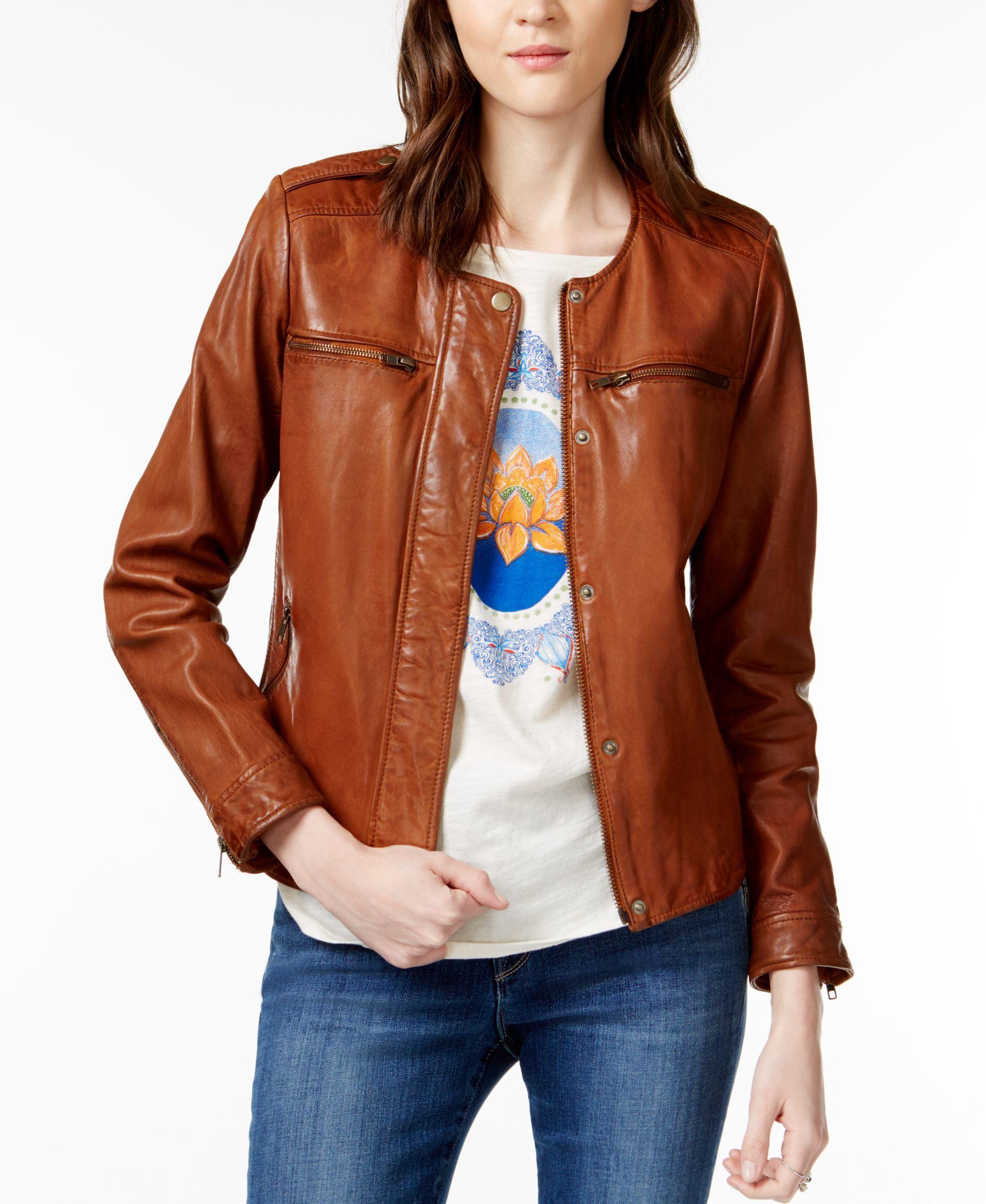 Lucky Brand Collarless Leather Jacket Blazer Jackets For Women Collarless Leather Jacket Leather Jackets Women [ 2378 x 1947 Pixel ]