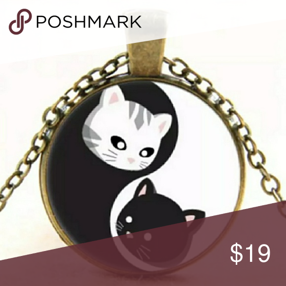 Yin And Yang Kitty Cabochon Necklace Boutique Pinterest Chinese