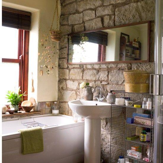 badezimmer ohne fliesen natursteinwand landhaus stil  Hausideen  Badezimmer fliesen