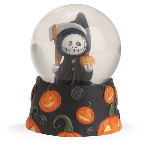 looking spooky a little cute and glowing halloween grover the grim reaper water globe has a real personality crafted of hand painted artist s resin and