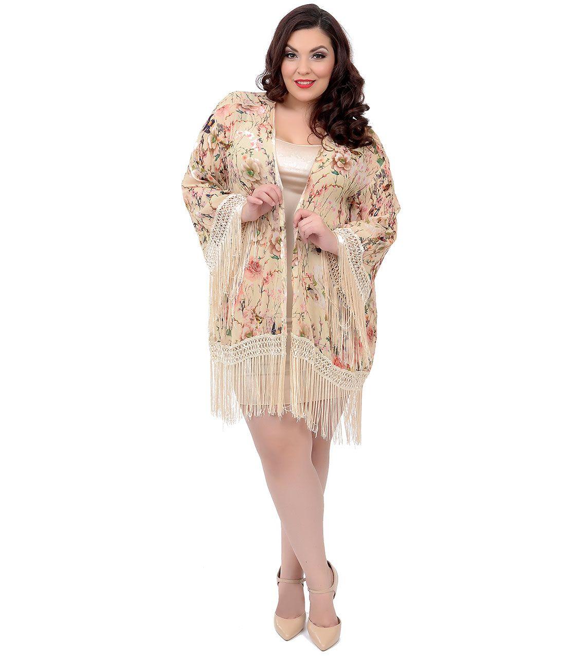 Beautiful and sexy Plus Size Yellow Floral & Bird Lattice Fringe Trim Kimono Coat