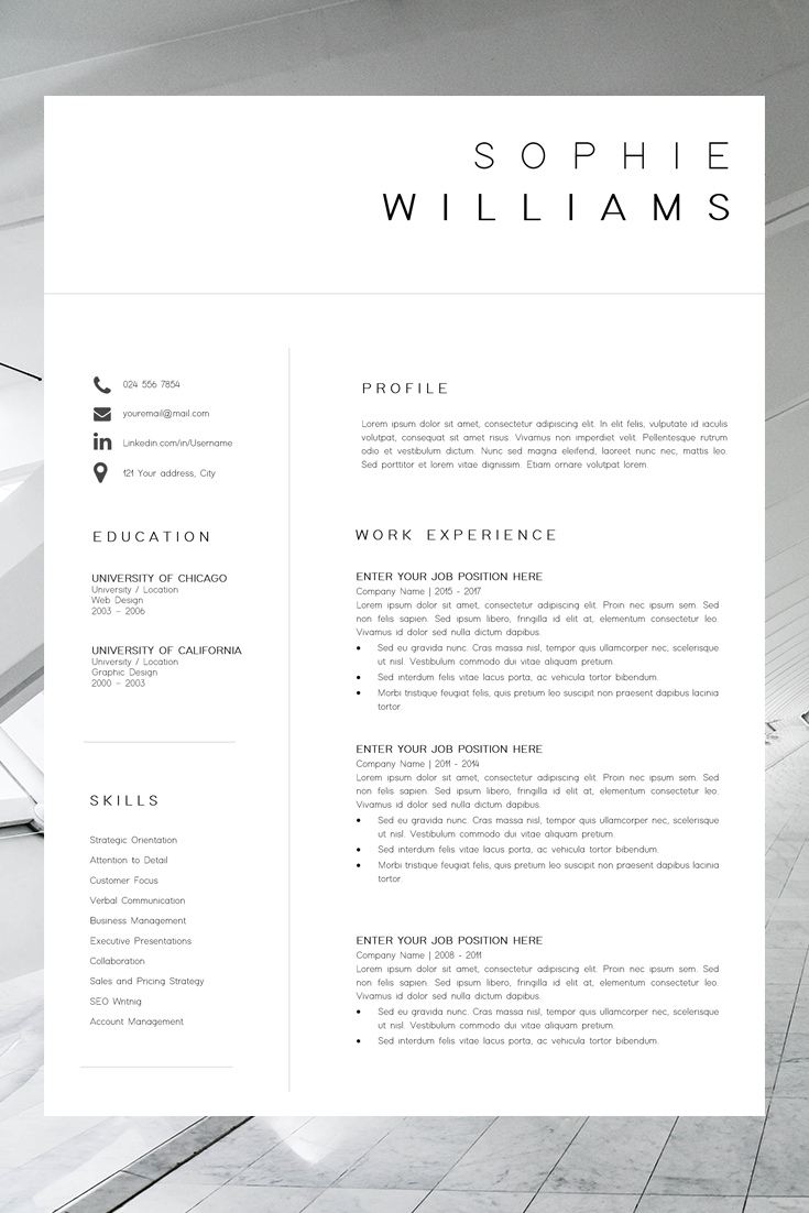 New CV Template | Resume Template Minimalist | Professional ...