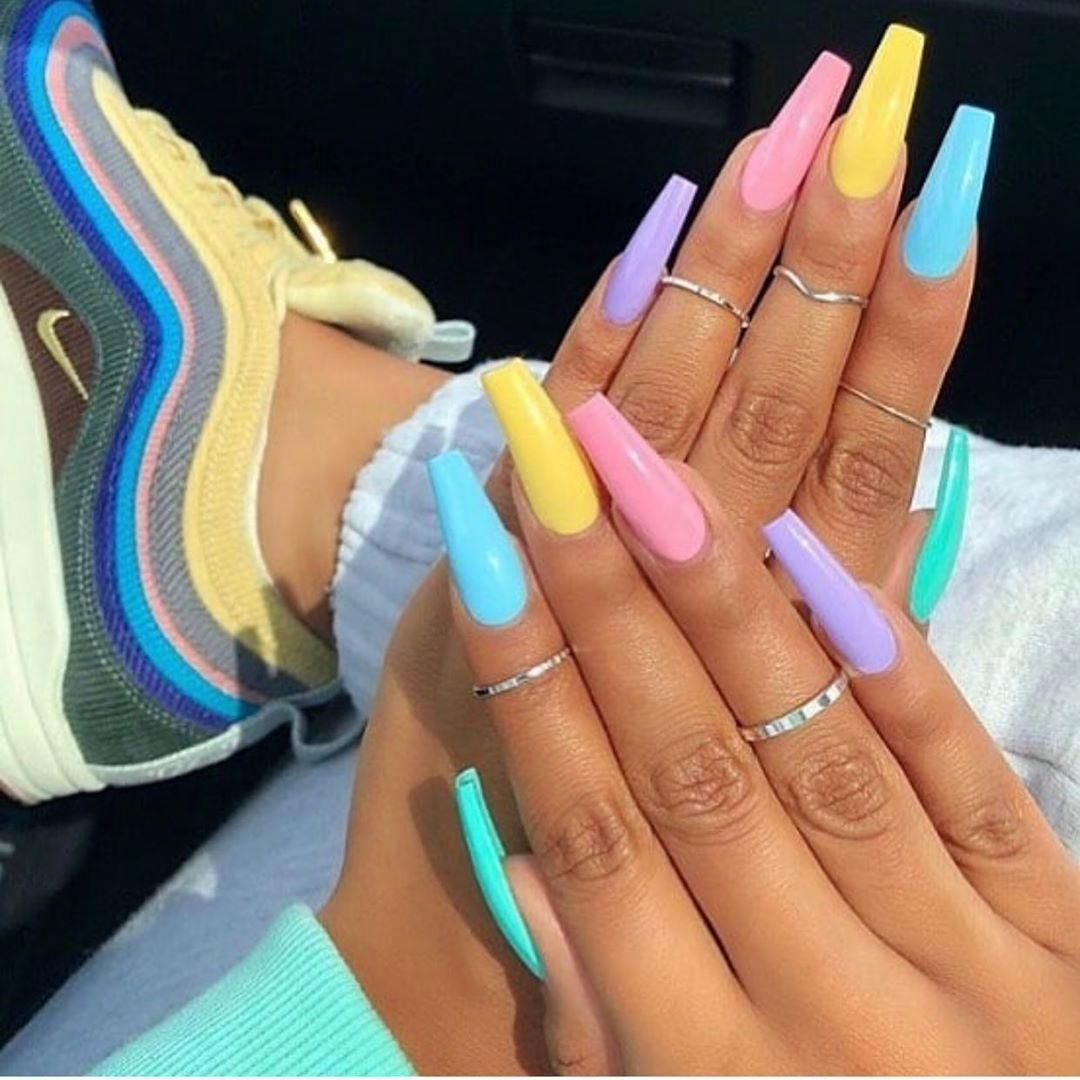 Cute Multi Color Summer Acrylic Nails Coffin 2019 Cutenails