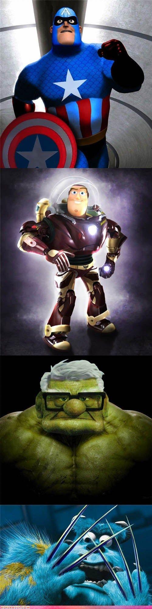 Marvel Superhero/Disney Hybrids! Awesome.