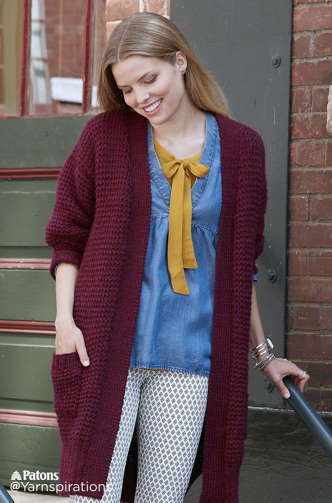 Long Weekend Knit Cardigan - Patterns   Yarnspirations   háčkované a ...