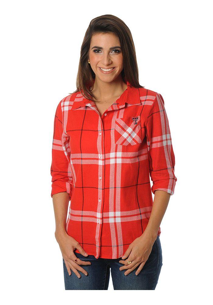 3ae4ce68 Texas Tech Red Raiders Womens Boyfriend Plaid Long Sleeve Red Dress Shirt,  Red, 100% COTTON FLANNEL, Size S