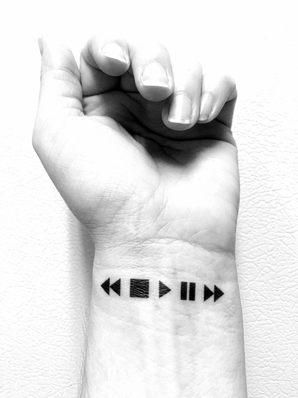 Tatuajes Temporales Badabun music temporary tattoo, moments, memories, rewind, pause, play stop