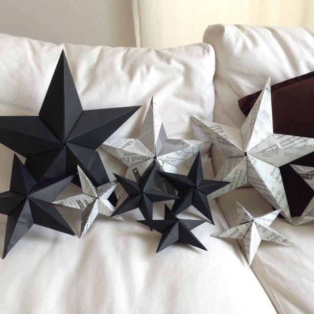 ハート 折り紙:折り紙 星型 立体-pinterest.com