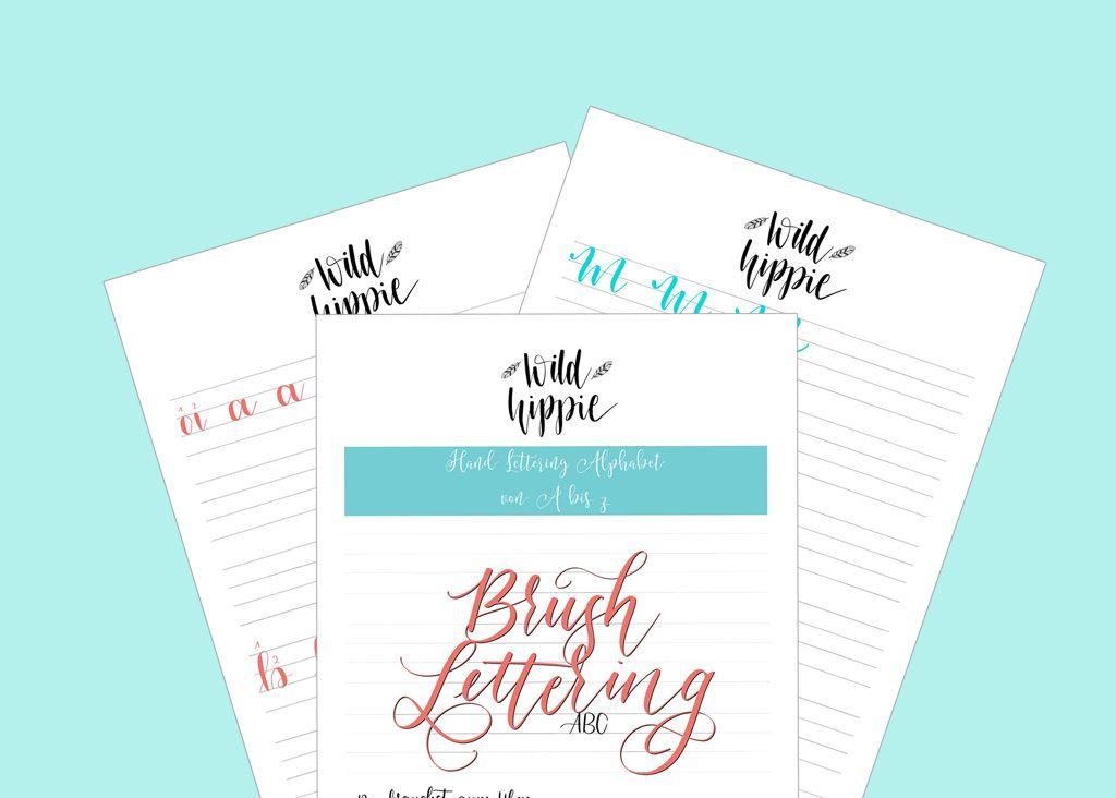 Kostenlose Hand Lettering Ubungsblatter Fur Dich Wild Hippie Studio Lettering Hand Lettering Ubungsblatter Handlettering Abc