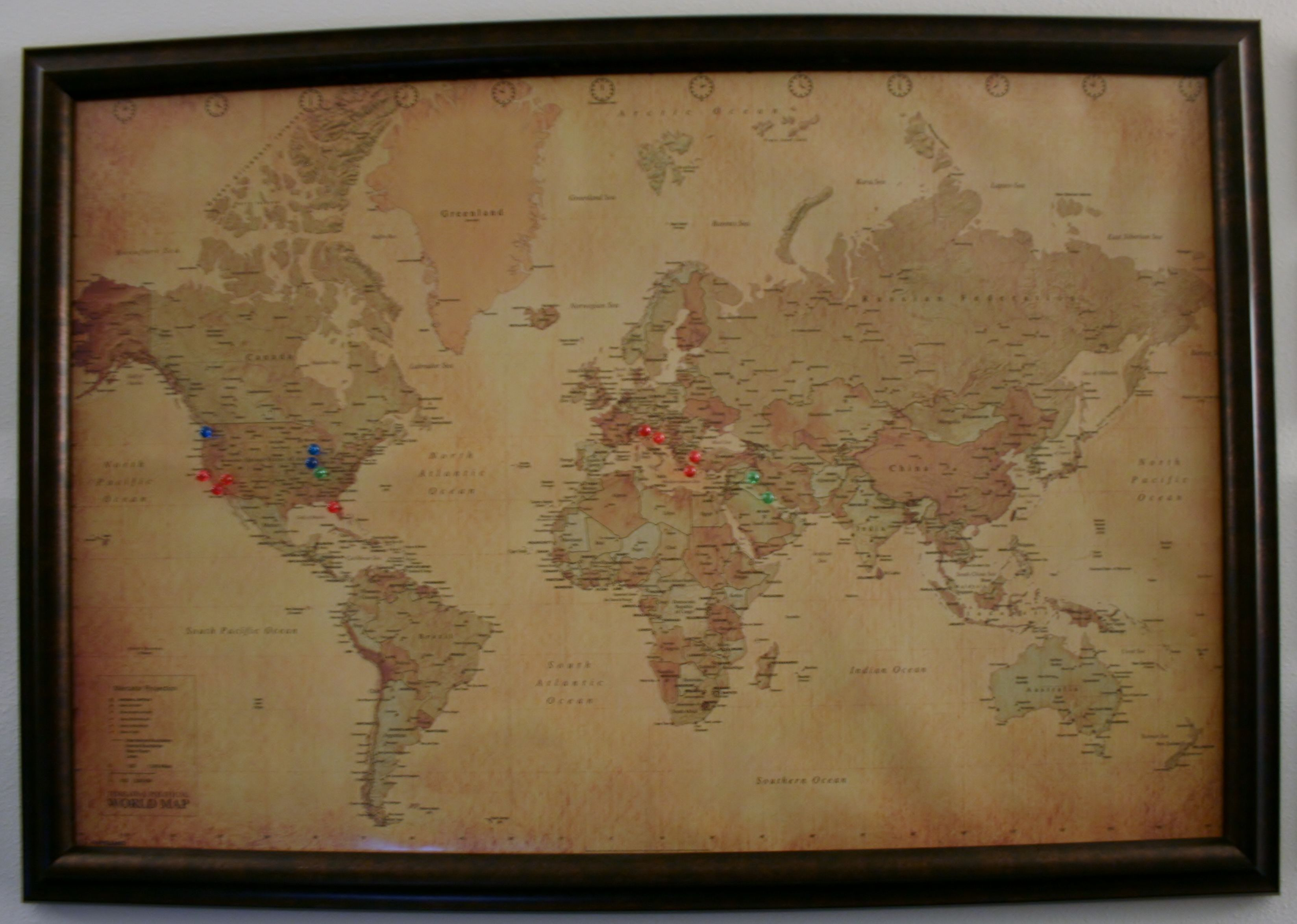 I glued a map to cork board and then framed it we used push pins diy push pin map materials large frame cork laminated map gumiabroncs Choice Image