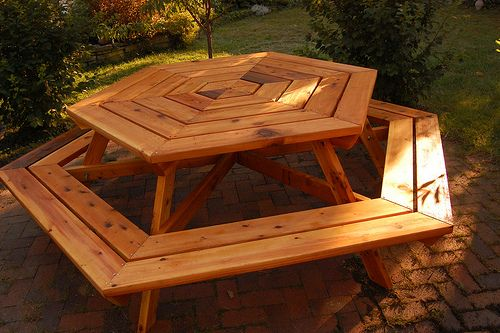 Wooden Hexagon Picnic Table