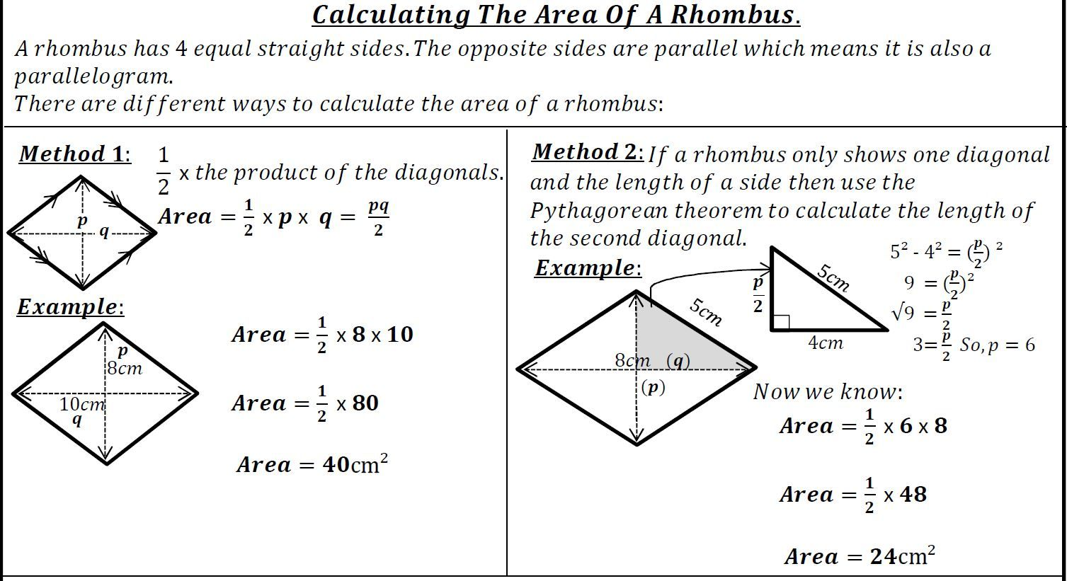 FREE! Area of a rhombus worksheet using the Pythagorean theorem.   Student  self assessment [ 821 x 1507 Pixel ]