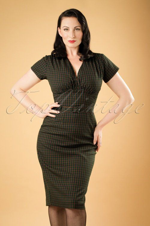 Daisy Dapper Holly Green Checked Pencil Dress 19512 20160719 0009w