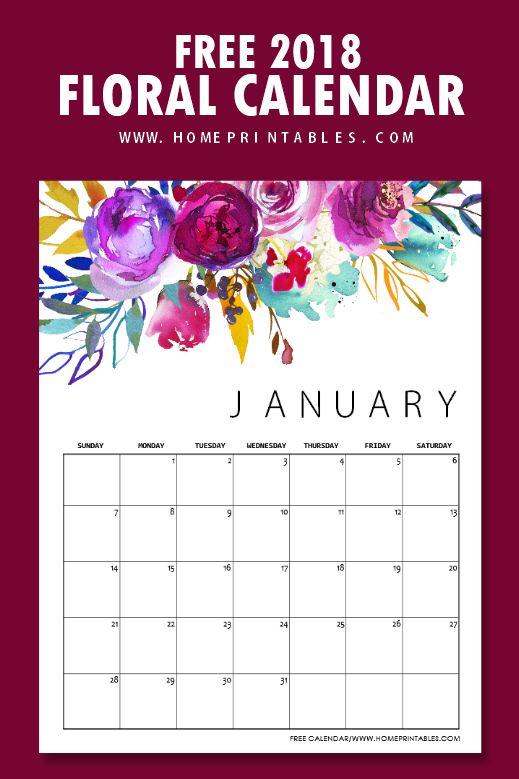 January Calendar Girl Pdf : Free printable calendar in beautiful florals