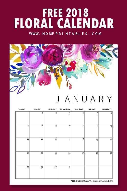 free calendar 2018 to print