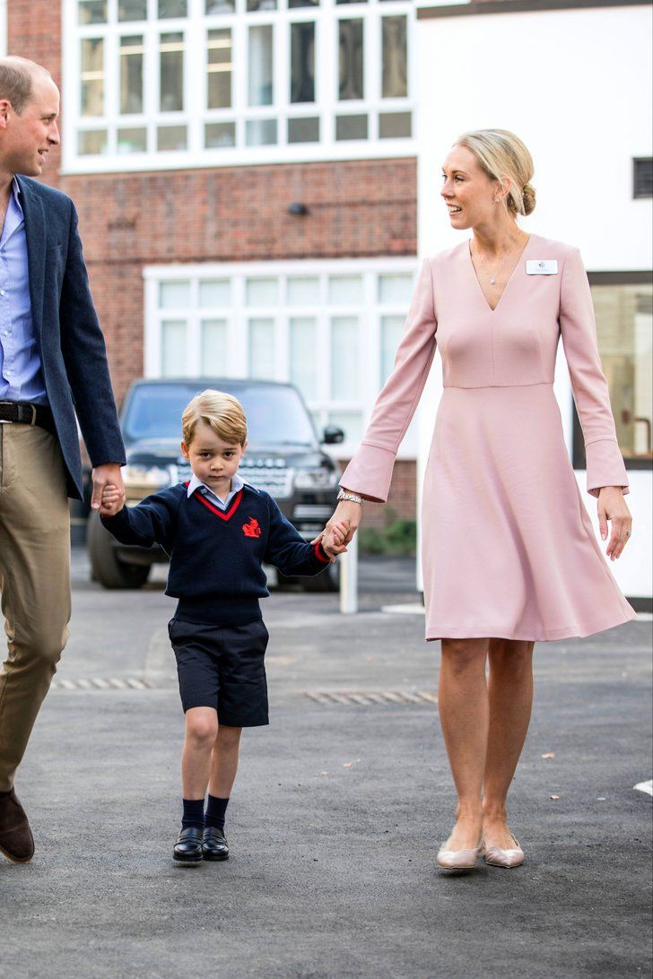 The Sweet Way Prince George S Teacher Honored Kate Middleton On His First Day Of School Pink Outfits Fashion Lk Bennett Dress