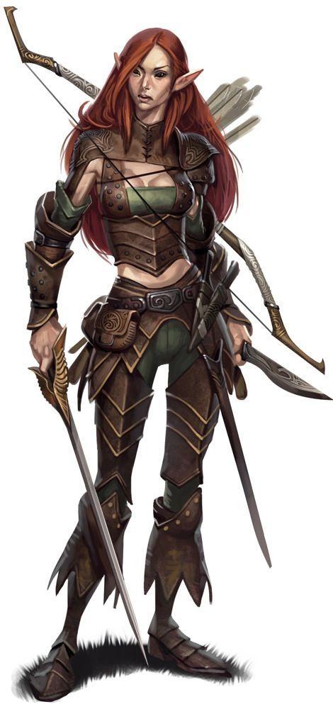 female pathfinder half elf ranger illustration by eric belisle it