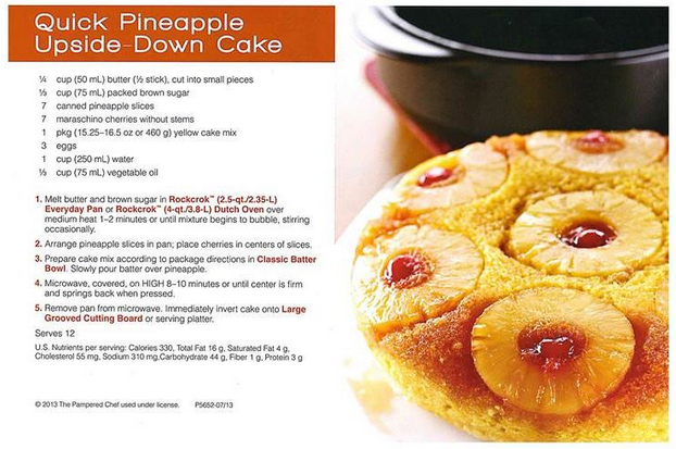 Pampered Chef Microwave Pineapple Upside Down Cake