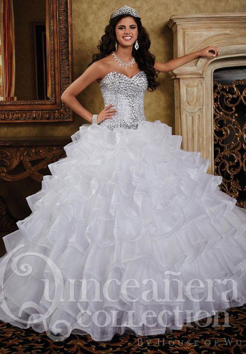 MZ0920 Ball Gown White Organza Rhinestones Beaded Sweetheart ...