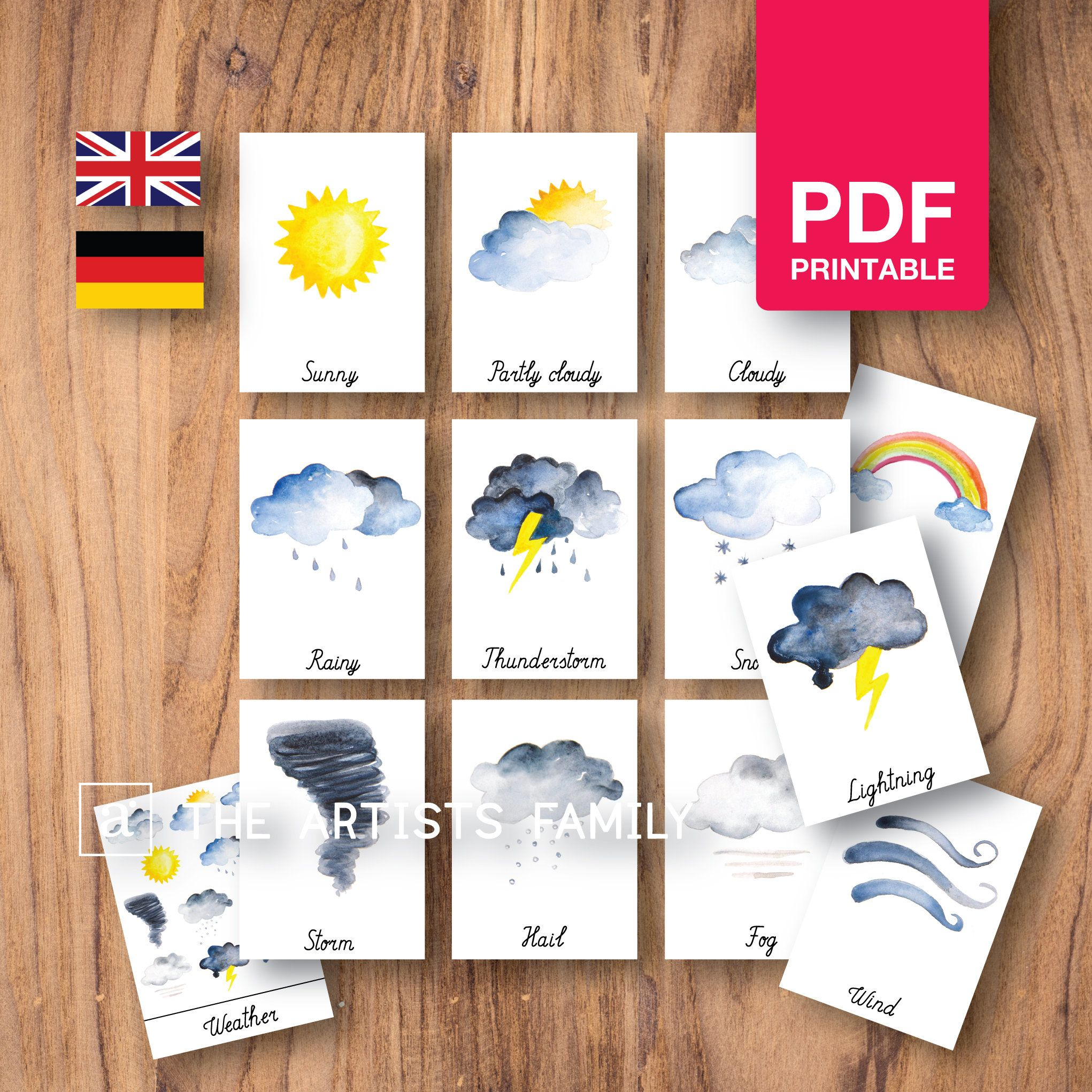 Weather 12 Cards Watercolor Montessori Nomenclature Flash 3 Part Educational Material Homeschooling Printable Learning German Spanish French Alphabet Cards Montessori Educational Materials