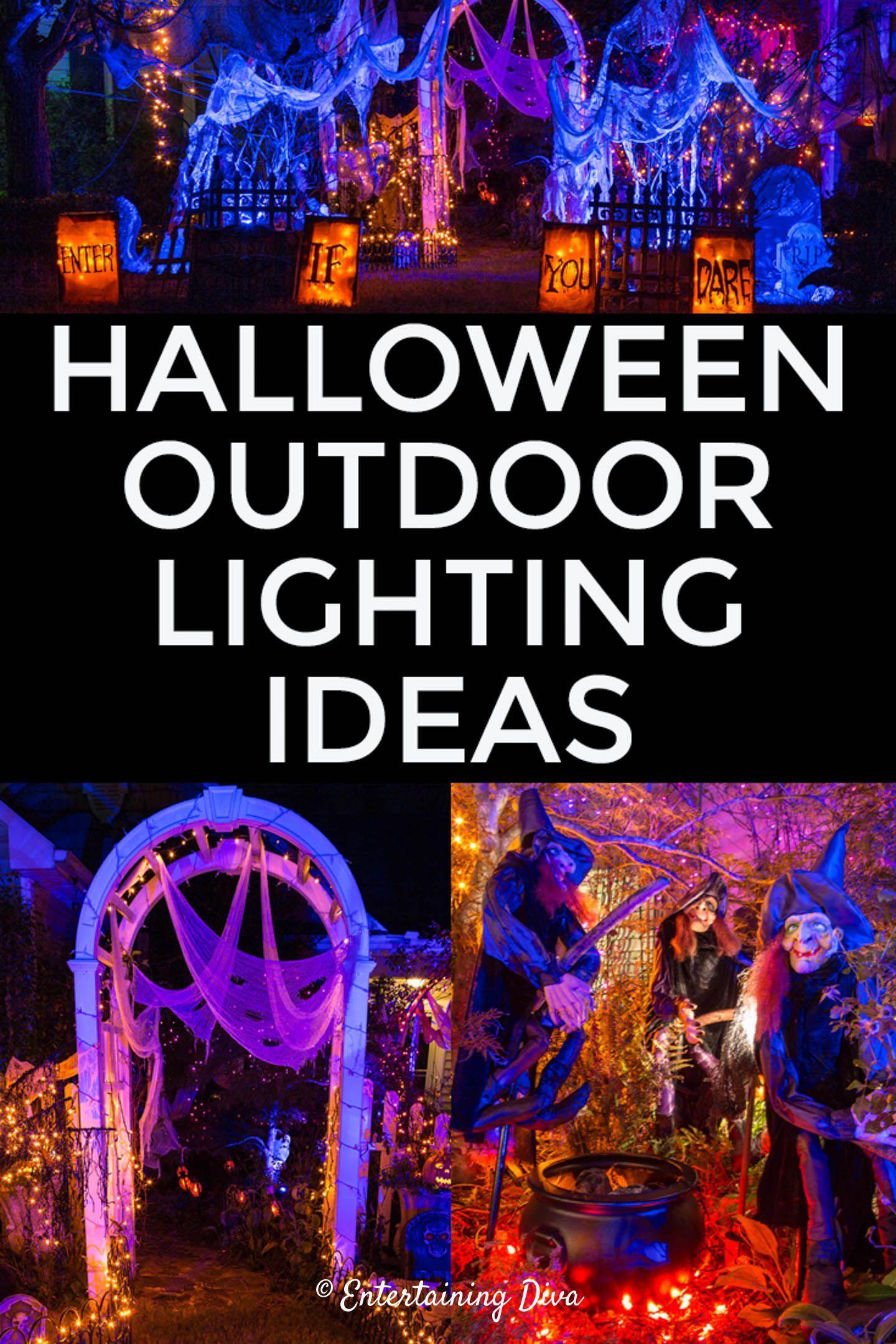 Halloween Outdoor Lighting Ideas 18 Spooky Ways To Light Your Yard With Images Halloween Outdoor Decorations Outdoor Halloween Halloween Lighting Outdoor