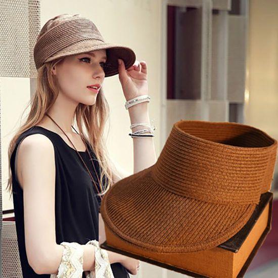 ce5880ba3da Women Foldable Floppy Straw Roll Up Wide Brim Summer Hat Sun Beach Visor Cap   HatsForWomenFloppy
