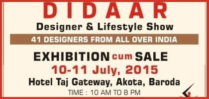 DIDAAR Designer & Lifestyle Exhibition in Baroda from 10 & 11 July 2015  http://www.nrigujarati.co.in/Topic/3220/1/didaar-designer-lifestyle-exhibition-in-baroda-from-10-11-july-2015.html