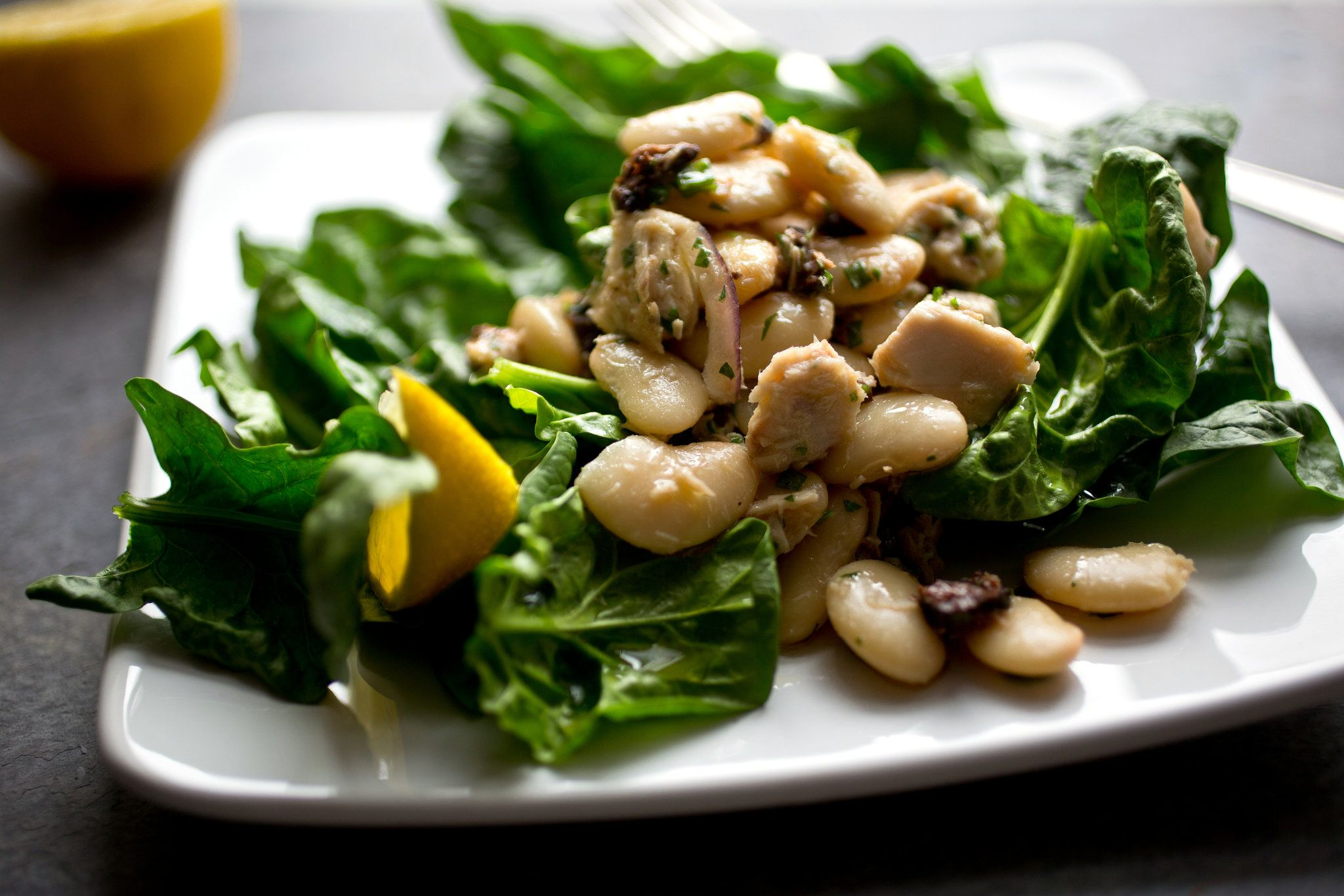 Large White Bean Tuna And Spinach Salad Recipe Spinach Salad Recipes Nyt Cooking Spinach Salad