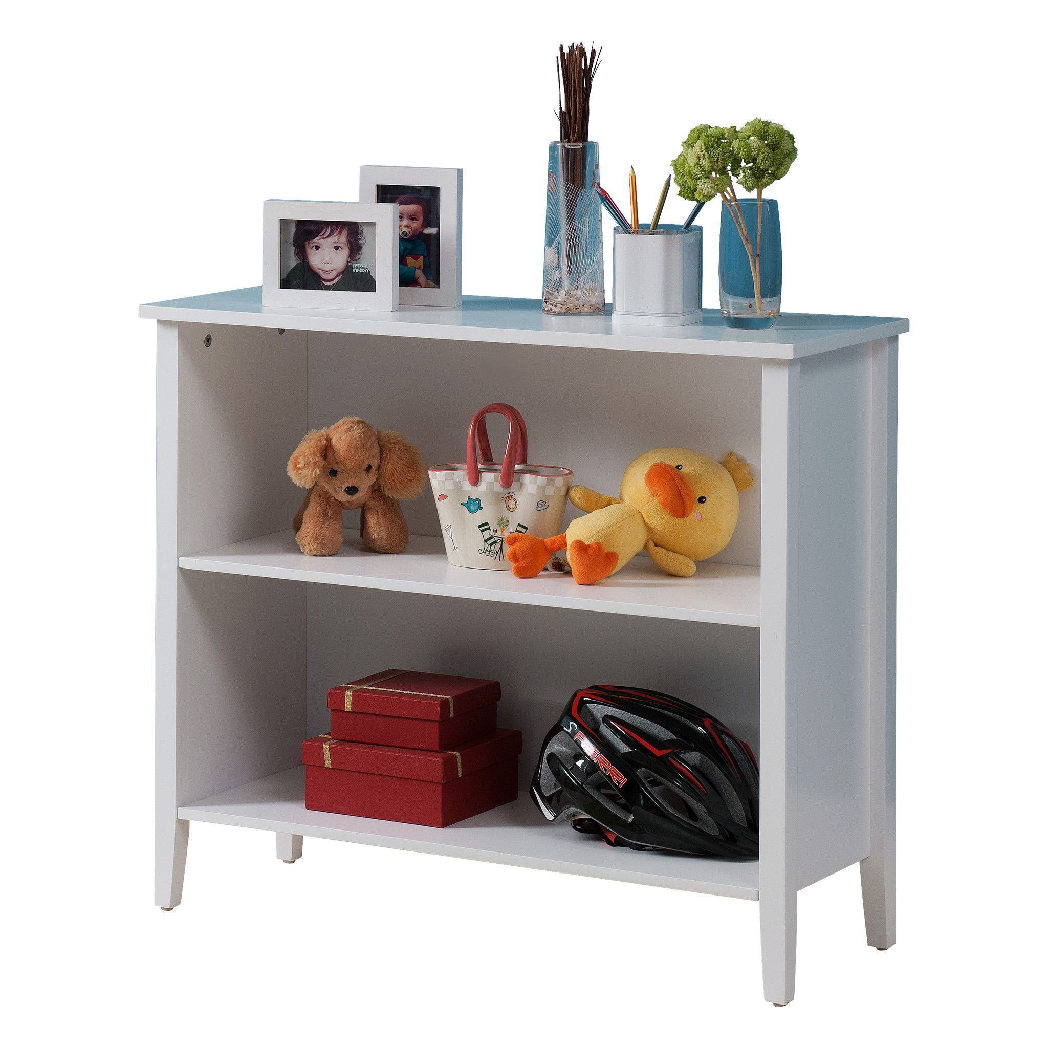 Pilaster Designs - White Finish 2-Shelf Bookcase