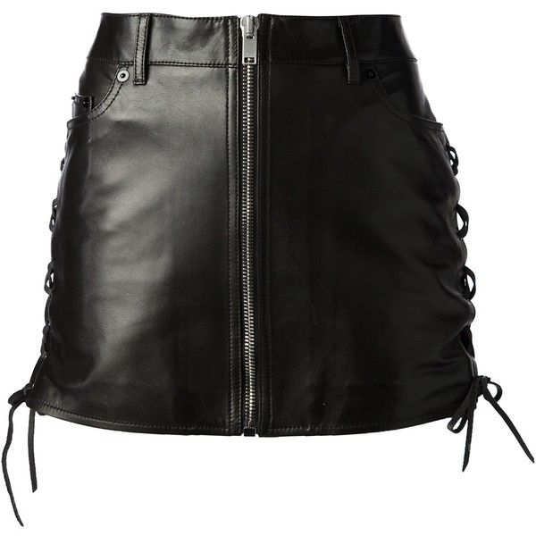 SAINT LAURENT laced leather miniskirt (6774595 PYG) ❤ liked on Polyvore featuring skirts, mini skirts, bottoms, saias, black, yves saint laurent, leather miniskirt, genuine leather skirt, real leather skirt and high waisted skirts
