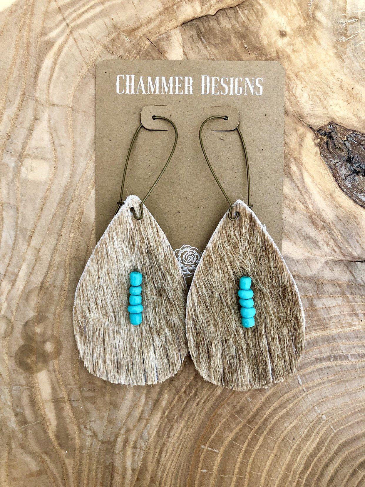 Photo of Tan Cowhide  Turquoise Beads  Fringe  Dangle Earrings