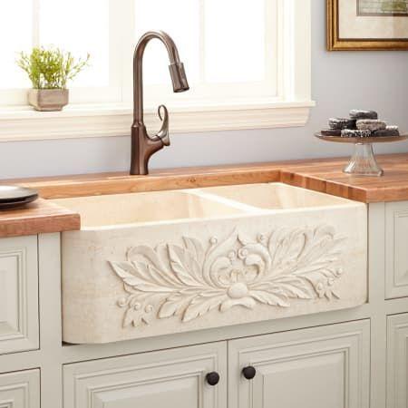 Signature Hardware 258709 Cream Egyptian Ivy 33 70/30 Offset Double Basin Polished Marble Farmhouse Sink
