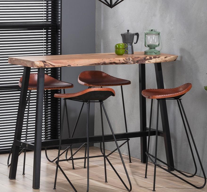 Bartischset Wood Akazie Industrial  Küche tisch, Bartisch
