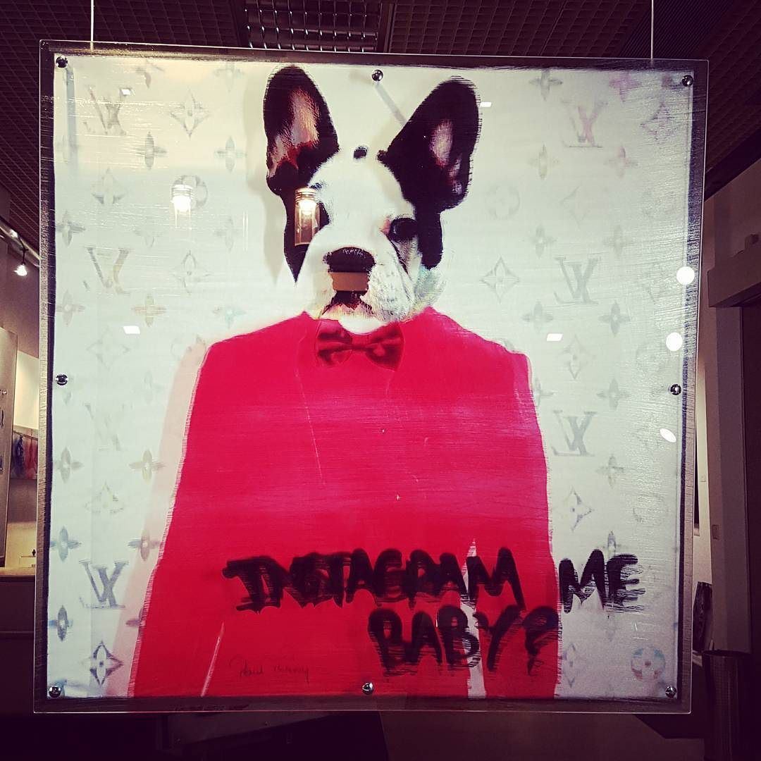 saw this super #cool #art #store here in #luxembourgcity that i had never noticed before...with all manner of #3d art... it asked and of course i #instagramed it because how #cute is this!  #walking #around #luxembourg  #luxthroughmyeyes #conceptart #dog #poster #igers #vsco #slick #red #framed #clickworthy