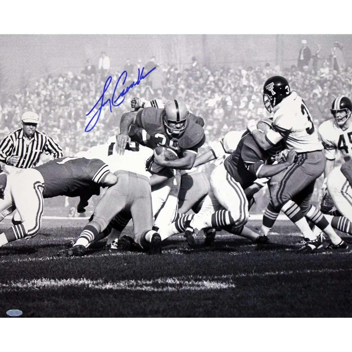 Larry csonka signed bw miami dolphins football fantasy
