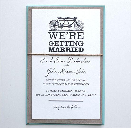 Wedding Invitation Giveaway: Bike Wedding, Free Printable Wedding
