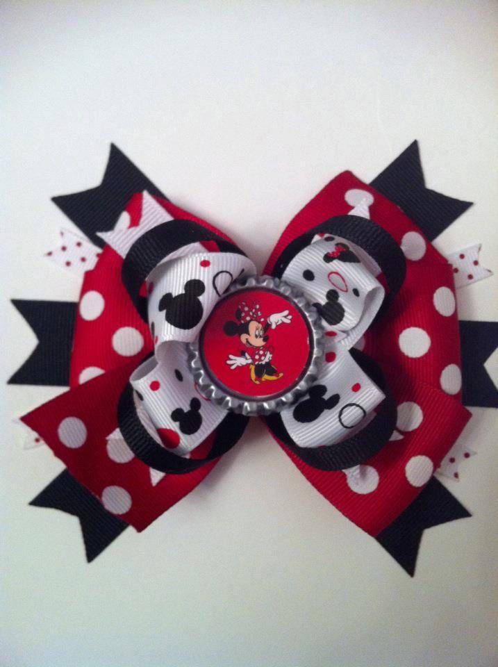 Minnie Magical Mouse Bottle Cap Hair Bow Via Etsy Hair Bows Diy Hair Bows Bows