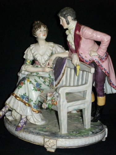 Large Antique German Porcelain Dressel Kister Courting Couple Dresden Figurine..WOULD YOU LIKE TO DANCE