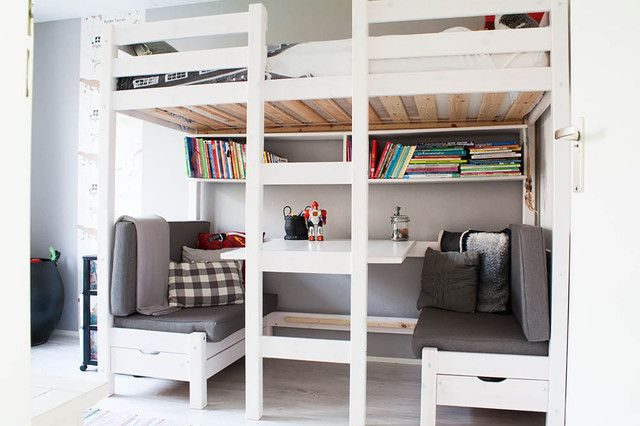 Loft Bed With Desk Underneath Kids Scandinavian With Banquette