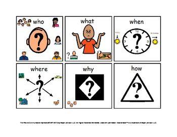 wh questions visual cues autism teacherspayteachers com