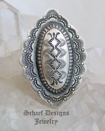 Vince Platero diamond pattern stamped sterling silver oval adjustable ring | Schaef Designs | New Mexico