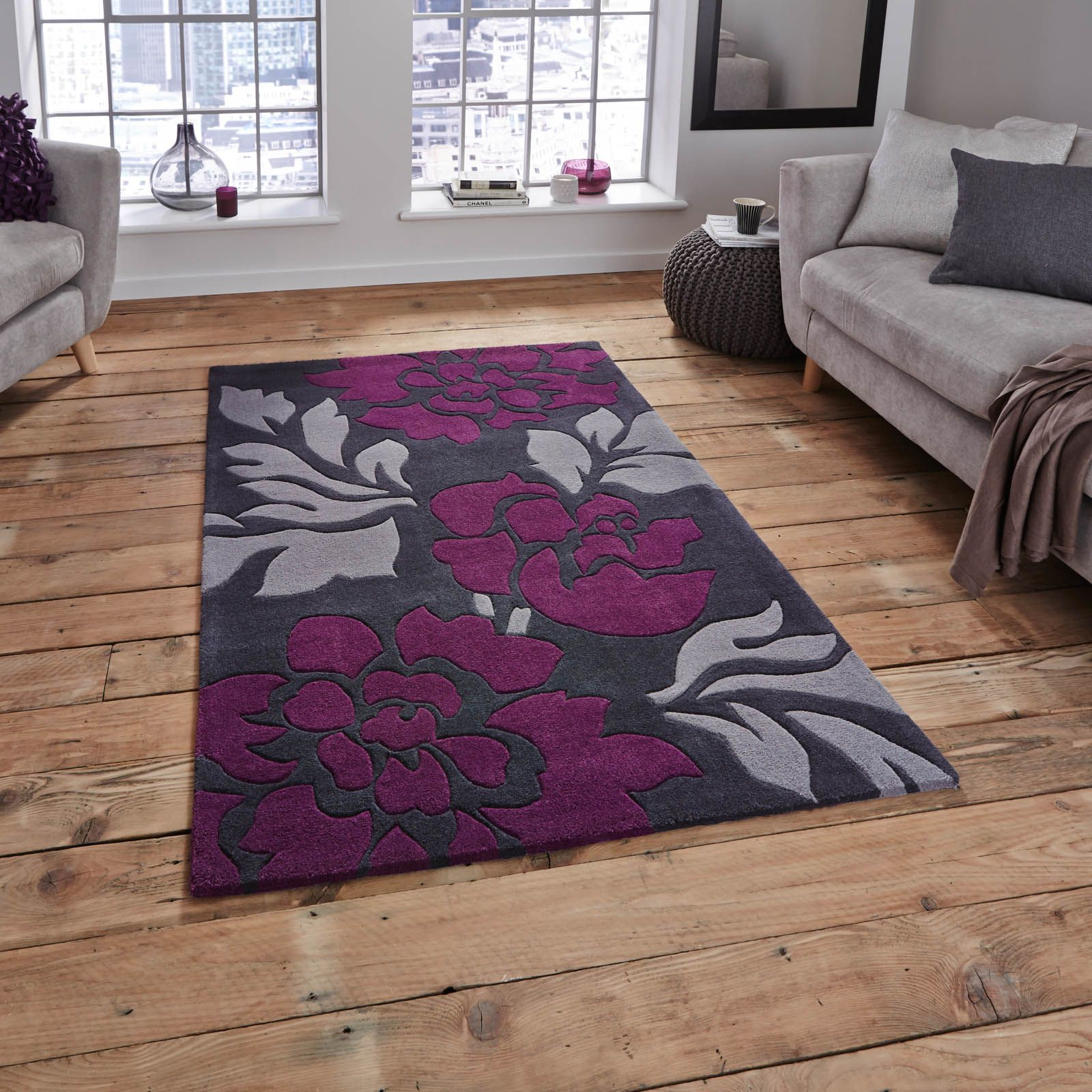 The Hong Kong Rug In Grey And Purple Is Handmade China Offers A Luxurious Deep Soft 100 Acrylic Pile This Range Easy To Clean Colourfast