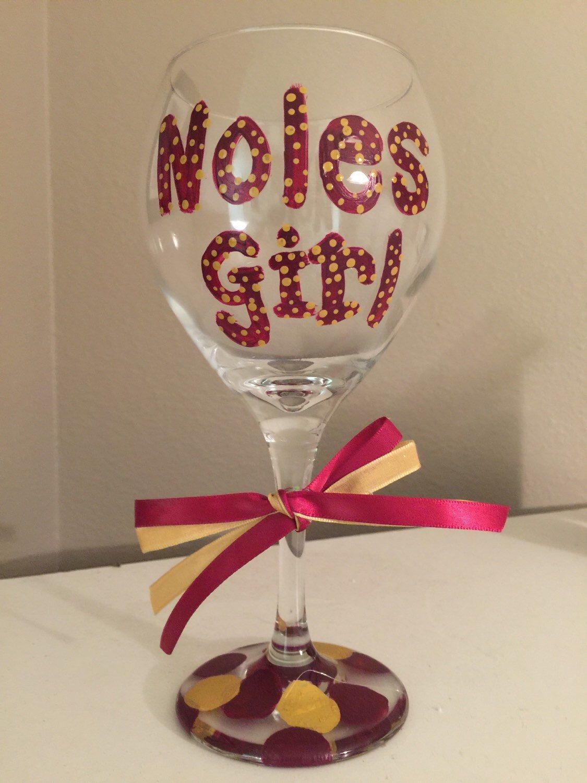 Fsu Painted Wine Glass Seminoles Wine Glass Florida State Wine Glass Hand Painted Wine Glass Painted Wine Glass Unique Wine Gifts