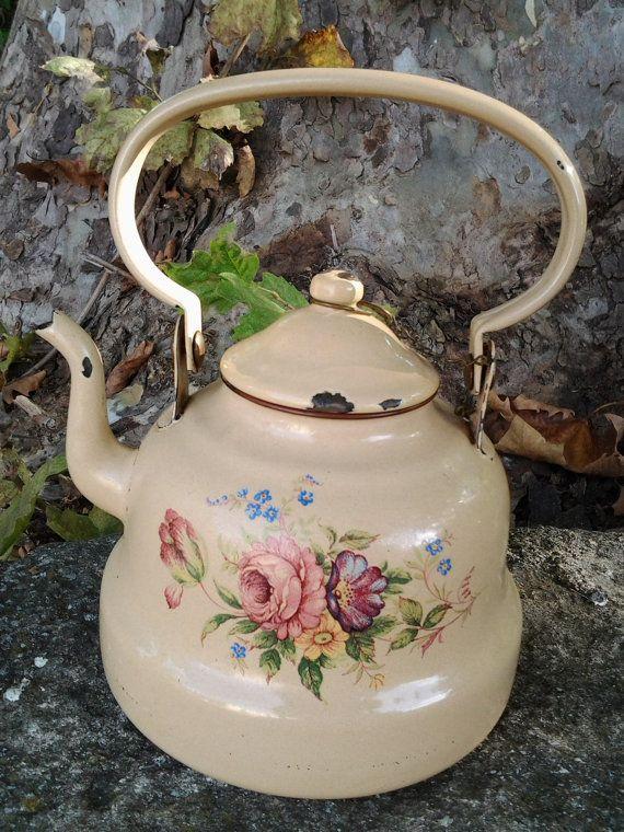 Vintage french Enamel Beige Teapot with by aubonheurduchineur