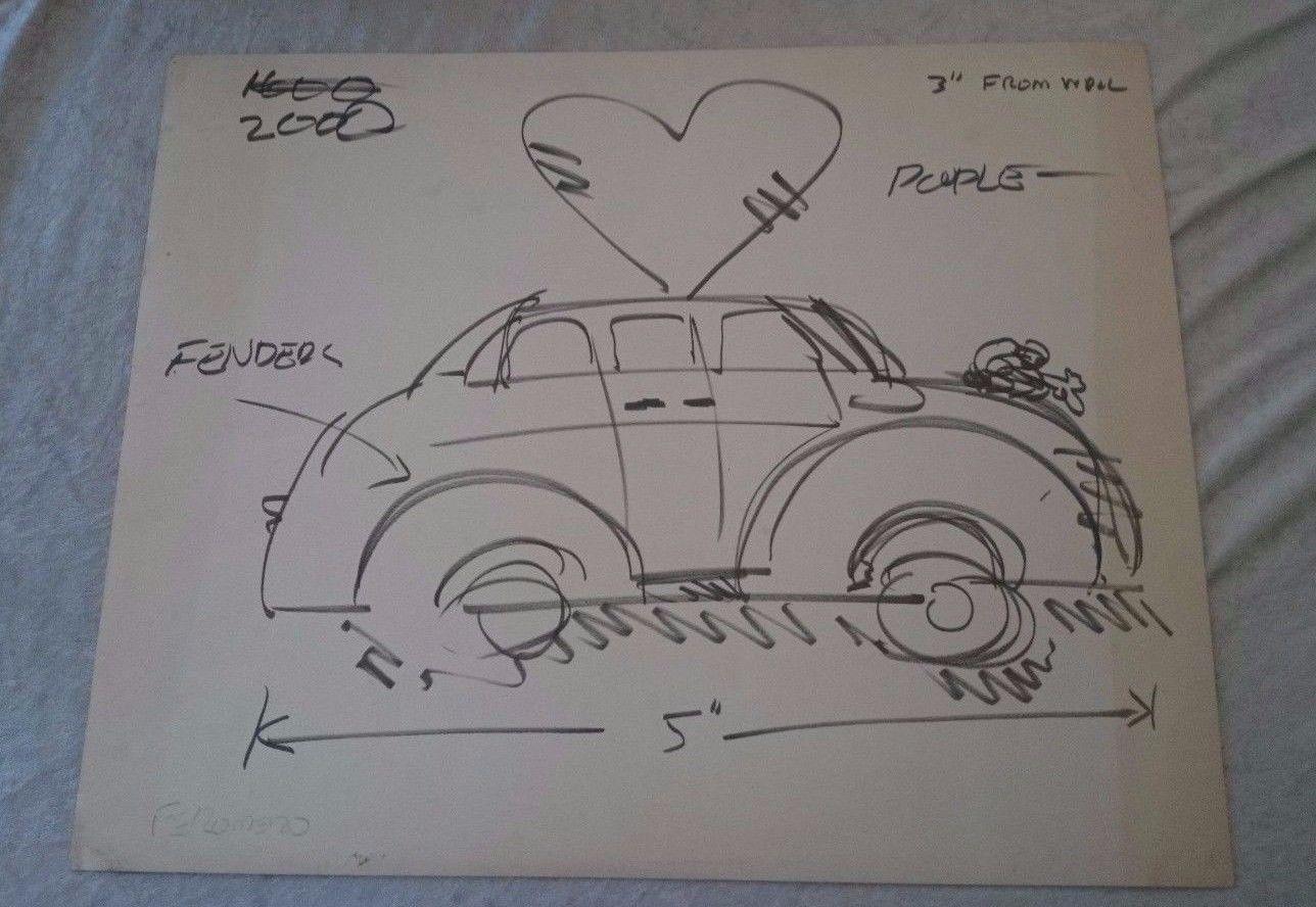 Frank Romero Car Drawing study Signed Listed Artist ORIGINAL | Car ...